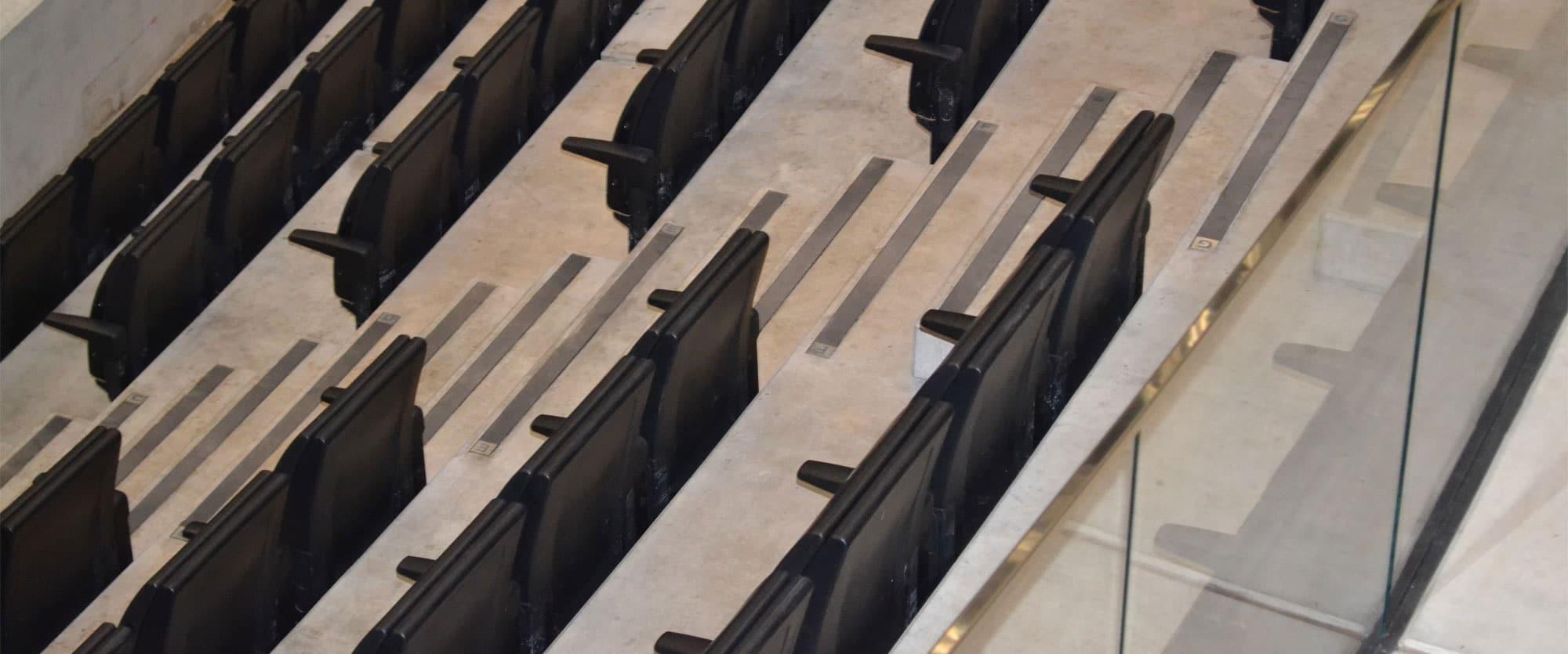 Stepline Carborundum anti slip step inserts used at arena in Glasgow